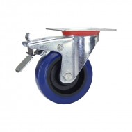 100MM BLUE RUBBER SWIVEL BRAKE CASTOR